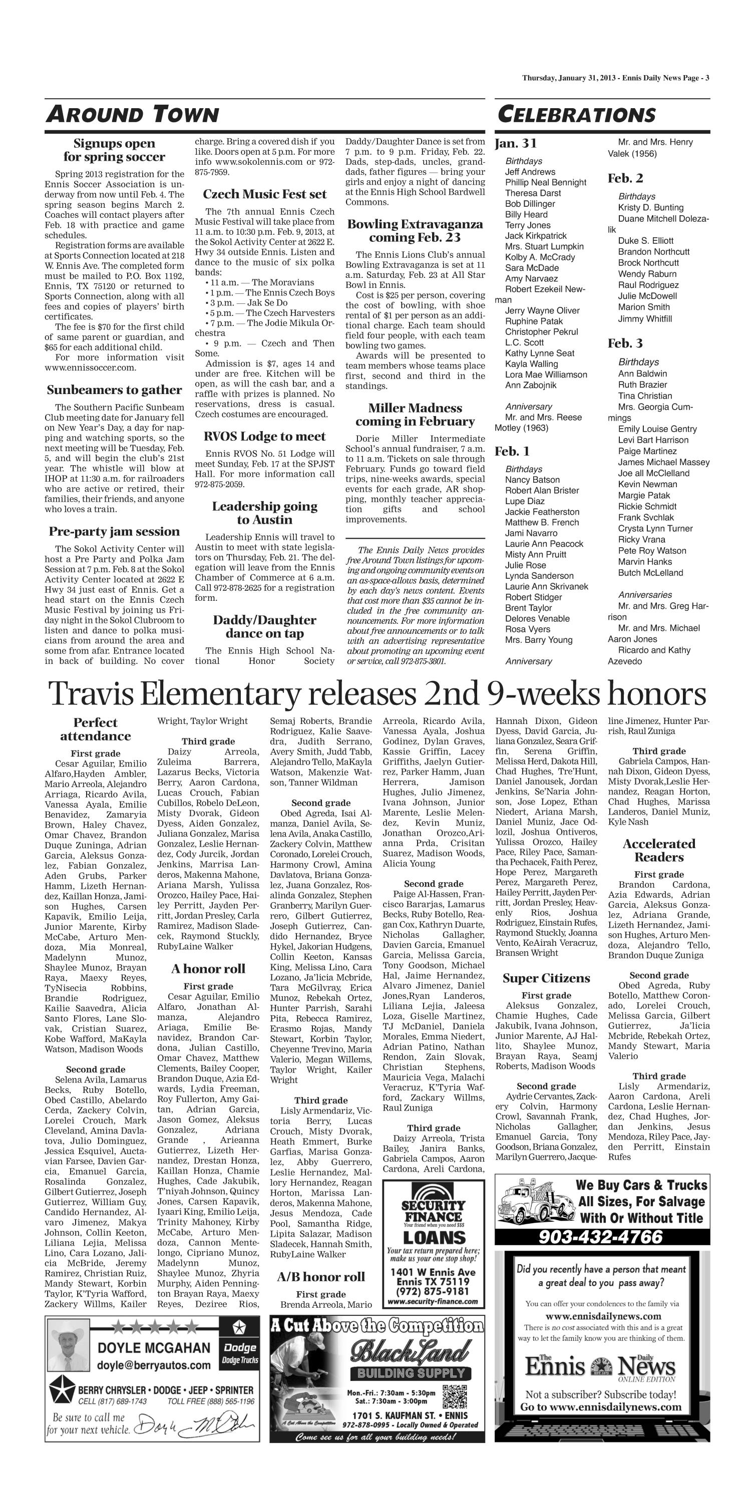 The Ennis Daily News (Ennis, Tex.), Ed. 1 Thursday, January 31, 2013 ...
