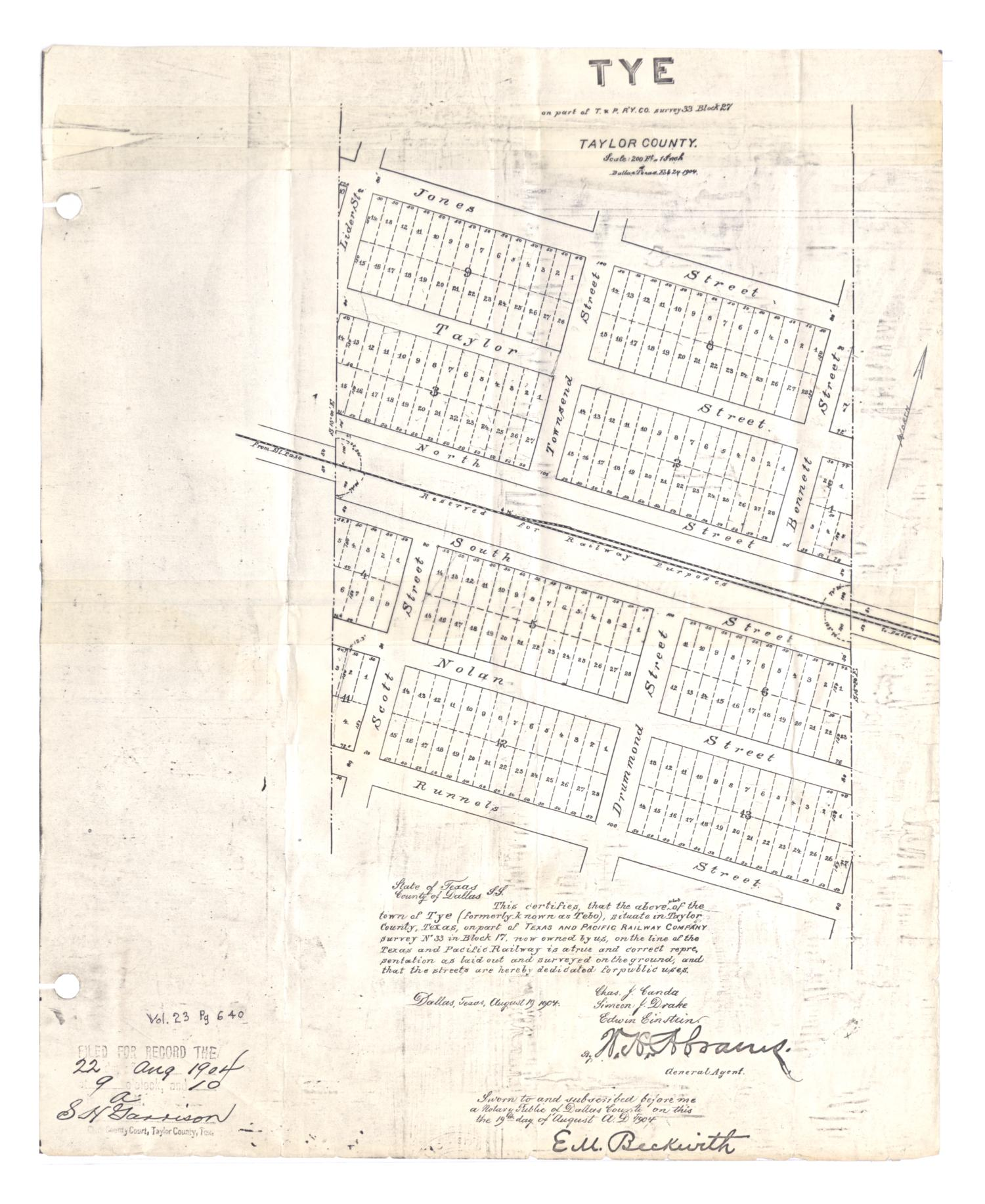 Tye: on part of Texas and Pacific Railway Company survey 33, Block 27                                                                                                      [Sequence #]: 1 of 2