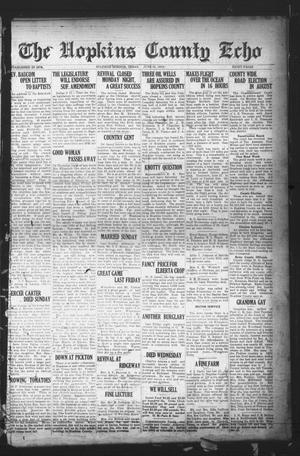 Primary view of object titled 'The Hopkins County Echo (Sulphur Springs, Tex.), Ed. 1 Friday, June 20, 1919'.