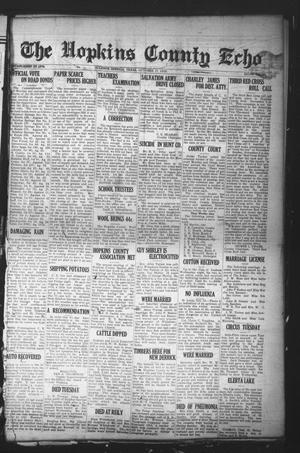 Primary view of object titled 'The Hopkins County Echo (Sulphur Springs, Tex.), Ed. 1 Friday, October 17, 1919'.
