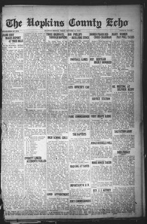 Primary view of object titled 'The Hopkins County Echo (Sulphur Springs, Tex.), Ed. 1 Friday, October 10, 1919'.