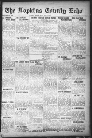 Primary view of object titled 'The Hopkins County Echo (Sulphur Springs, Tex.), Ed. 1 Friday, July 11, 1919'.
