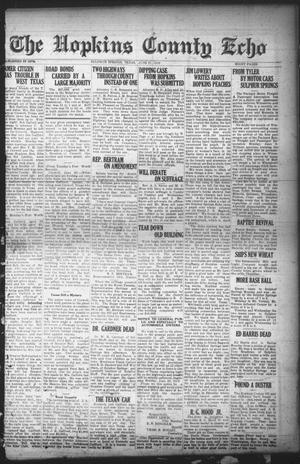 Primary view of object titled 'The Hopkins County Echo (Sulphur Springs, Tex.), Ed. 1 Friday, June 27, 1919'.