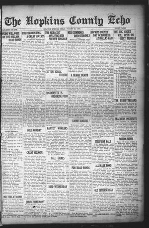 Primary view of object titled 'The Hopkins County Echo (Sulphur Springs, Tex.), Ed. 1 Friday, August 22, 1919'.