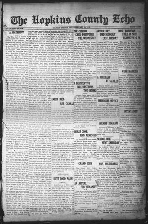 Primary view of object titled 'The Hopkins County Echo (Sulphur Springs, Tex.), Ed. 1 Friday, February 28, 1919'.