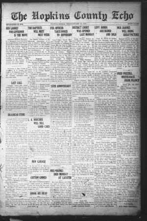 Primary view of object titled 'The Hopkins County Echo (Sulphur Springs, Tex.), Ed. 1 Friday, January 31, 1919'.