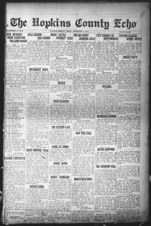 Primary view of object titled 'The Hopkins County Echo (Sulphur Springs, Tex.), Ed. 1 Friday, September 5, 1919'.
