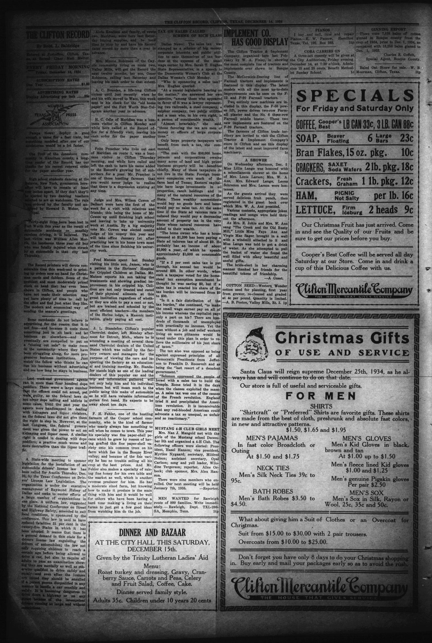 The Clifton Record (Clifton, Tex.), Vol. 40, No. 42, Ed. 1 Friday, December 14, 1934                                                                                                      [Sequence #]: 4 of 8
