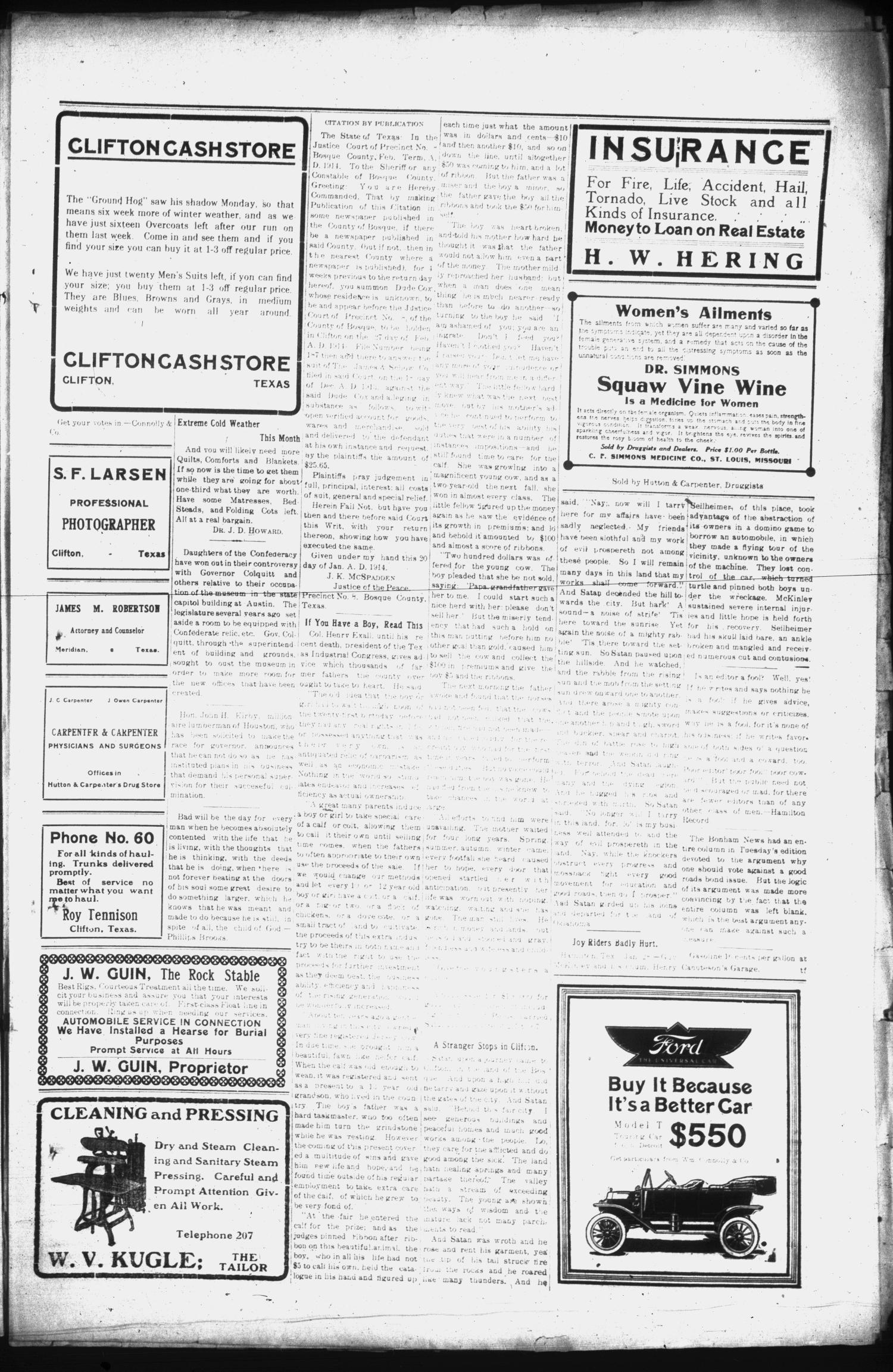 The Clifton Record (Clifton, Tex.), Vol. 19, No. 46, Ed. 1 Friday, February 6, 1914                                                                                                      [Sequence #]: 3 of 8