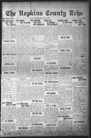 Primary view of object titled 'The Hopkins County Echo (Sulphur Springs, Tex.), Ed. 1 Friday, May 2, 1919'.