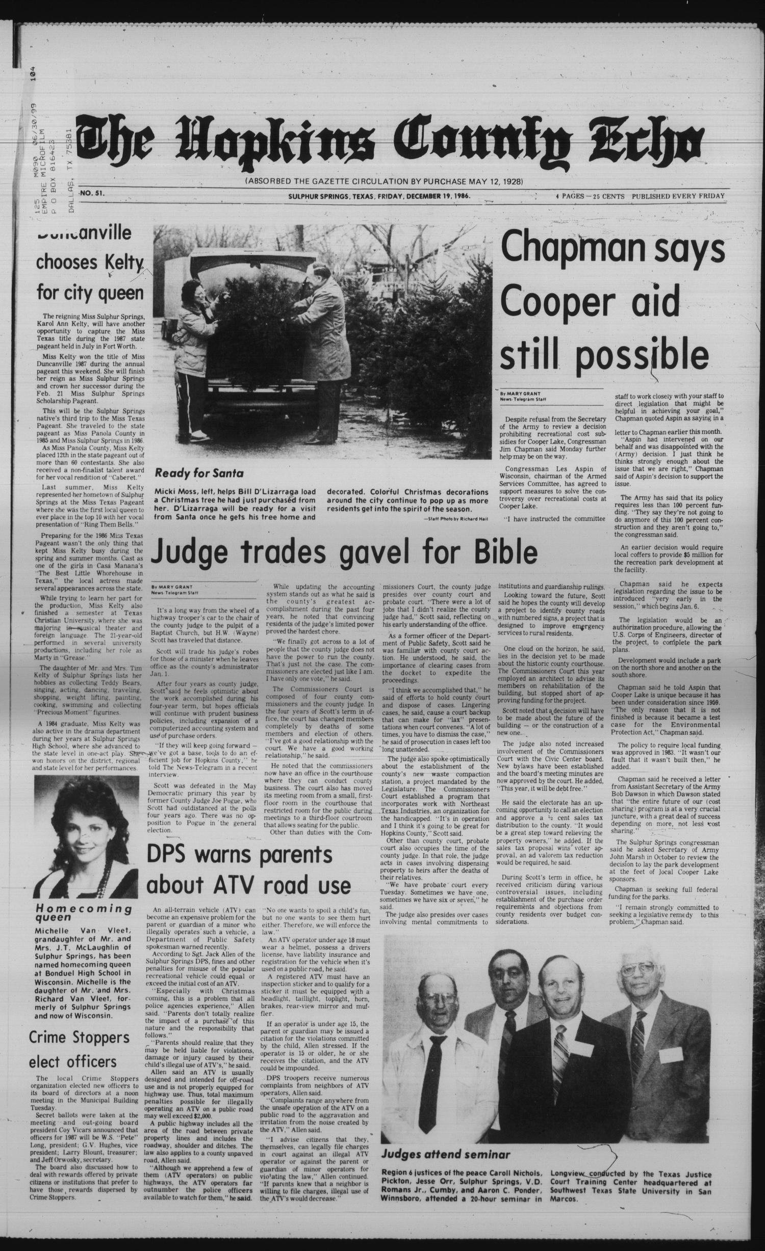 The Hopkins County Echo (Sulphur Springs, Tex.), Vol. 111, No. 51, Ed. 1 Friday, December 19, 1986                                                                                                      [Sequence #]: 1 of 4