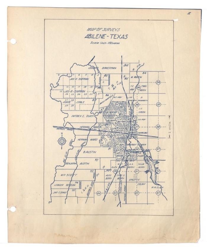 Map of Surveys Abilene Texas The Portal to Texas History