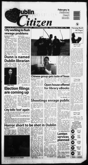 Primary view of object titled 'The Dublin Citizen (Dublin, Tex.), Vol. 23, No. 23, Ed. 1 Thursday, February 7, 2013'.