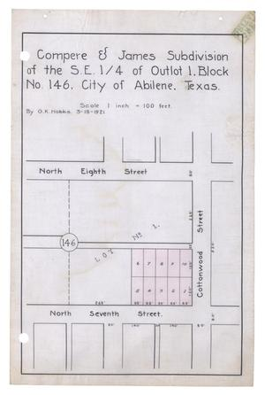 Primary view of object titled 'Compere & James Subdivision of the South East Quarter of Outlot 1, Block Number 146, City of Abilene, Texas.'.