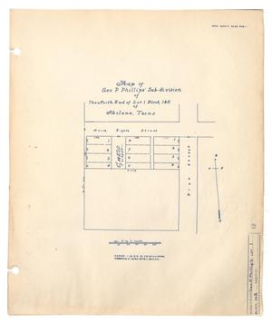 Primary view of object titled 'Map of George P. Phillips' Subdivision of The North End of Lot 1, Block 148 of Abilene, Texas'.