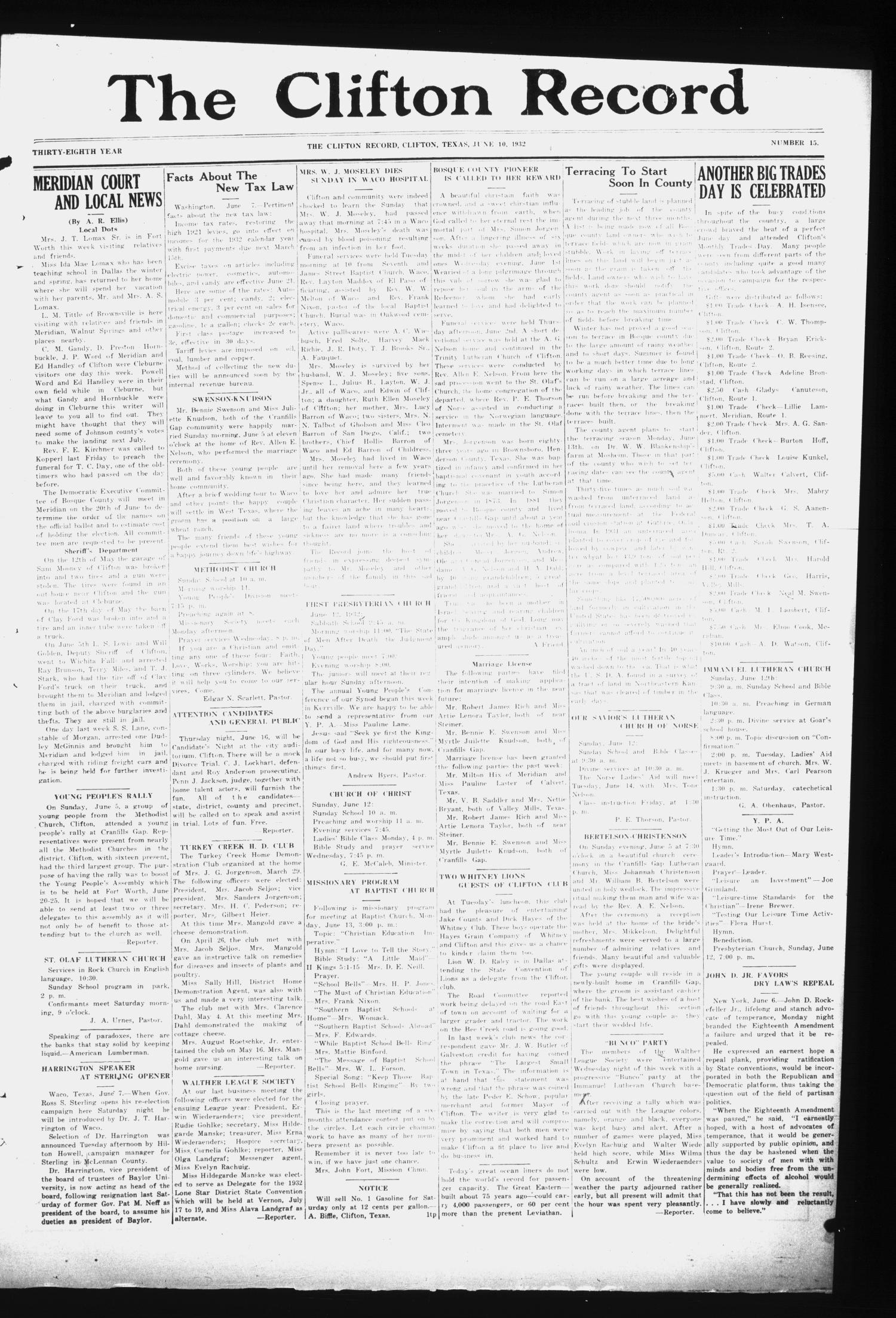 The Clifton Record (Clifton, Tex.), Vol. 38, No. 15, Ed. 1 Friday, June 10, 1932                                                                                                      [Sequence #]: 1 of 8