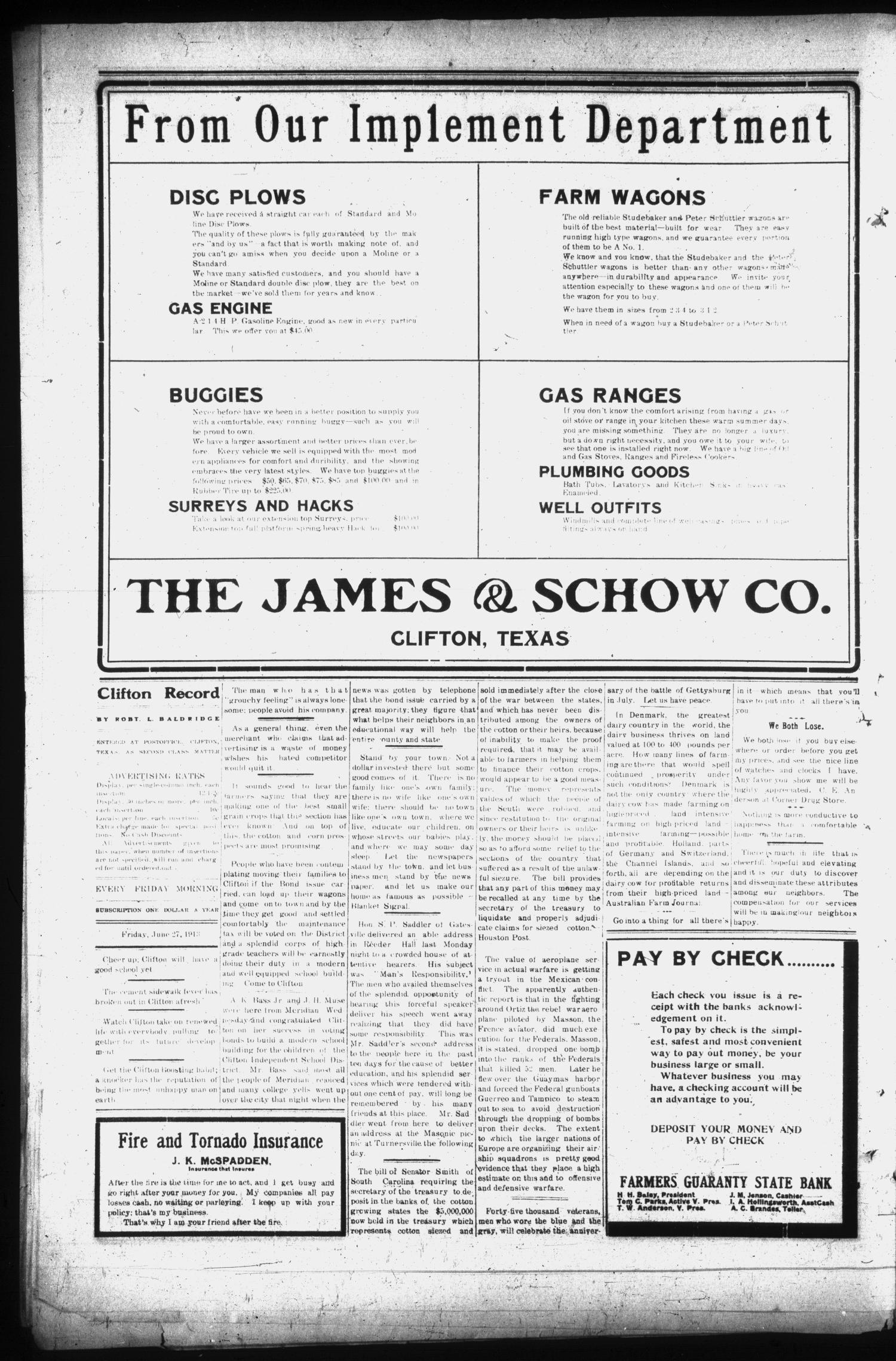 The Clifton Record (Clifton, Tex.), Vol. 19, No. 14, Ed. 1 Friday, June 27, 1913                                                                                                      [Sequence #]: 4 of 8