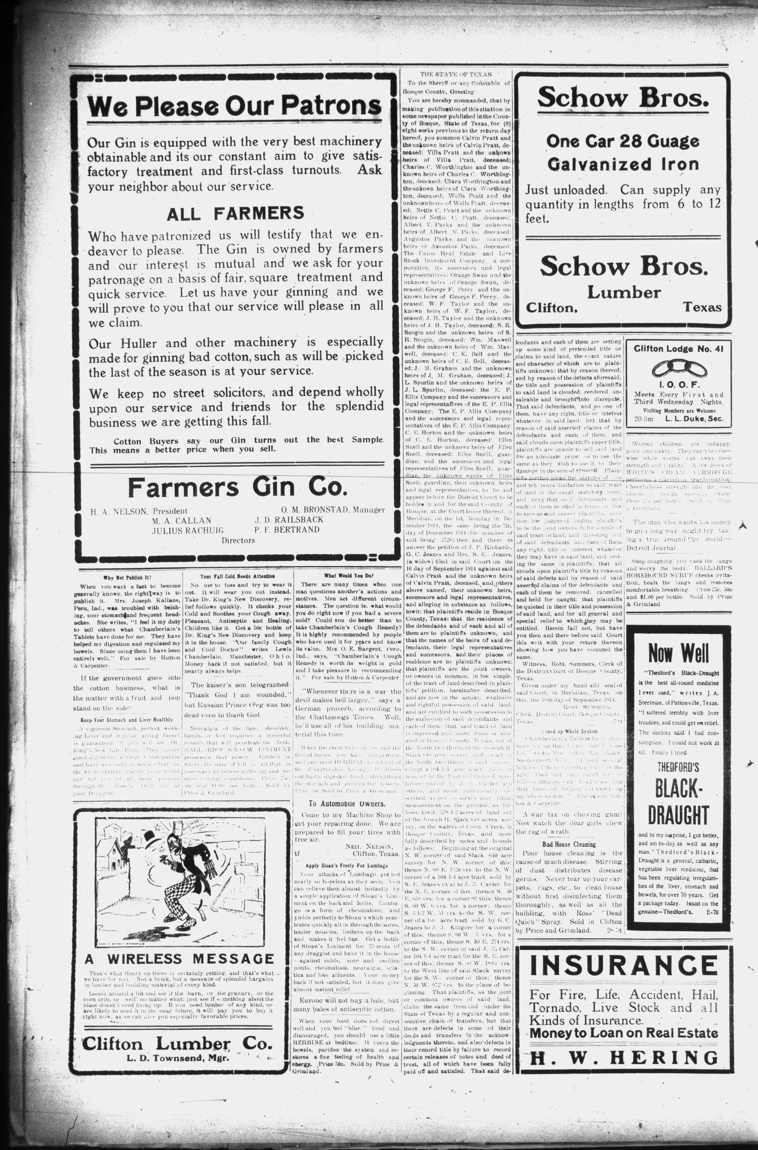 The Clifton Record (Clifton, Tex.), Vol. 20, No. 31, Ed. 1 Friday, October 23, 1914                                                                                                      [Sequence #]: 2 of 8