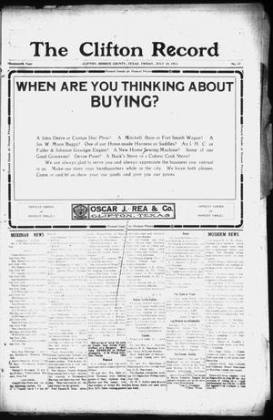 Primary view of object titled 'The Clifton Record (Clifton, Tex.), Vol. 19, No. 17, Ed. 1 Friday, July 18, 1913'.