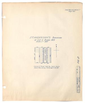Primary view of object titled 'J. T. Anderson's Subdivision of Lot 2, Block 189'.