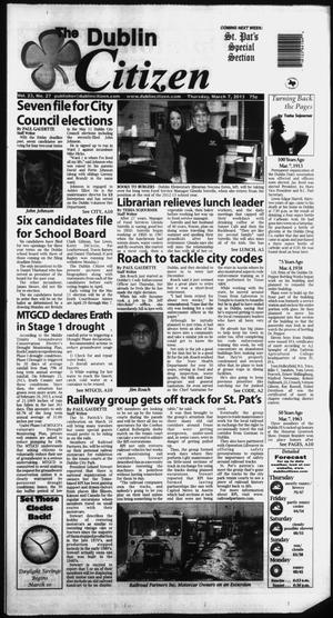 Primary view of object titled 'The Dublin Citizen (Dublin, Tex.), Vol. 23, No. 27, Ed. 1 Thursday, March 7, 2013'.