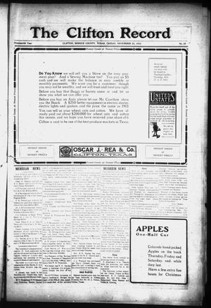 Primary view of The Clifton Record (Clifton, Tex.), Vol. 19, No. 35, Ed. 1 Friday, November 21, 1913