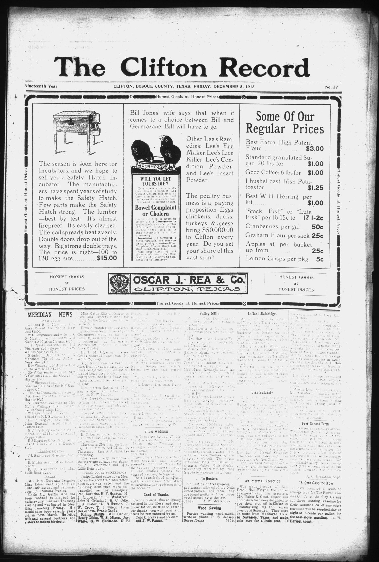 The Clifton Record (Clifton, Tex.), Vol. 19, No. 37, Ed. 1 Friday, December 5, 1913                                                                                                      [Sequence #]: 1 of 8