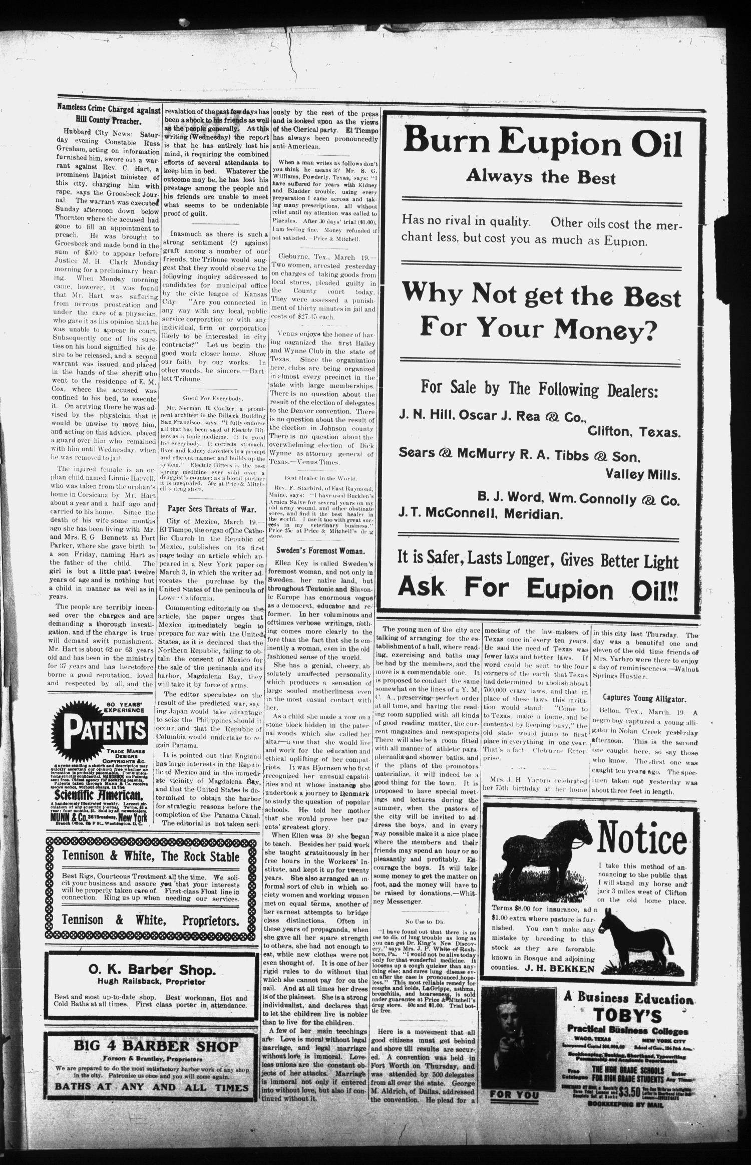 The Clifton Record (Clifton, Tex.), Vol. 12, No. 47, Ed. 1 Friday, March 27, 1908                                                                                                      [Sequence #]: 3 of 8
