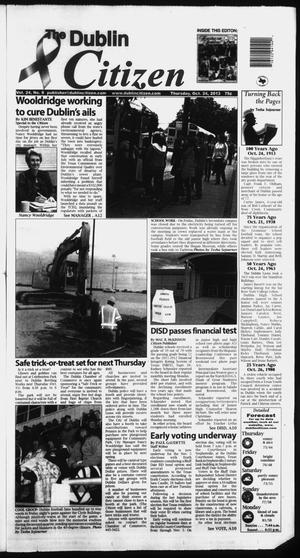 Primary view of object titled 'The Dublin Citizen (Dublin, Tex.), Vol. 24, No. 8, Ed. 1 Thursday, October 24, 2013'.