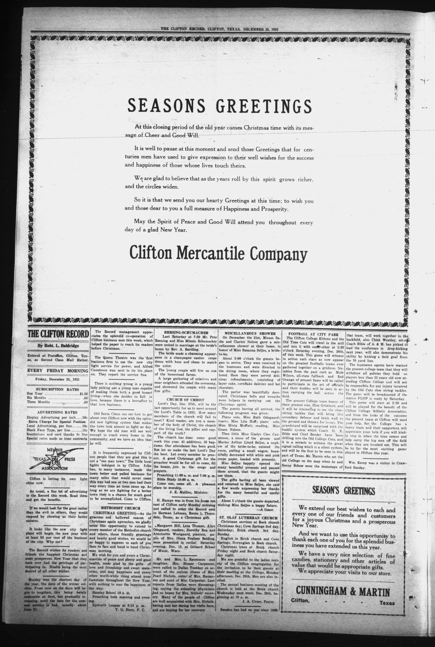 The Clifton Record (Clifton, Tex.), Vol. 31, No. 42, Ed. 1 Friday, December 25, 1925                                                                                                      [Sequence #]: 4 of 8