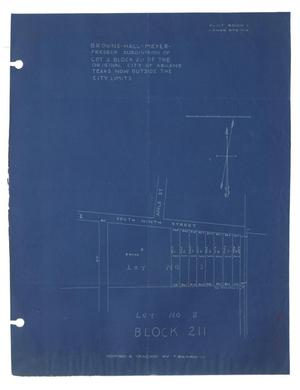 Primary view of object titled 'Browne-Hall-Meyer-Fredeck Subdivision of Lot 2 Block 211 of the Original City of Abilene, Texas now outside the city limits'.