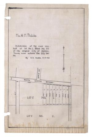 Primary view of object titled 'Subdivision of the East one-half of the lot Number 1, Block Number 211 of the original City of Abilene, Texas, now outside the City limits. [#2]'.