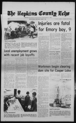 Primary view of object titled 'The Hopkins County Echo (Sulphur Springs, Tex.), Vol. 111, No. 31, Ed. 1 Friday, August 1, 1986'.