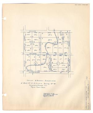 Primary view of object titled 'Sayles and Hughes Subdivision of Block Number 10, B. Austin Survey Number 91 (Lying West of Meander St.), Taylor County, Texas'.