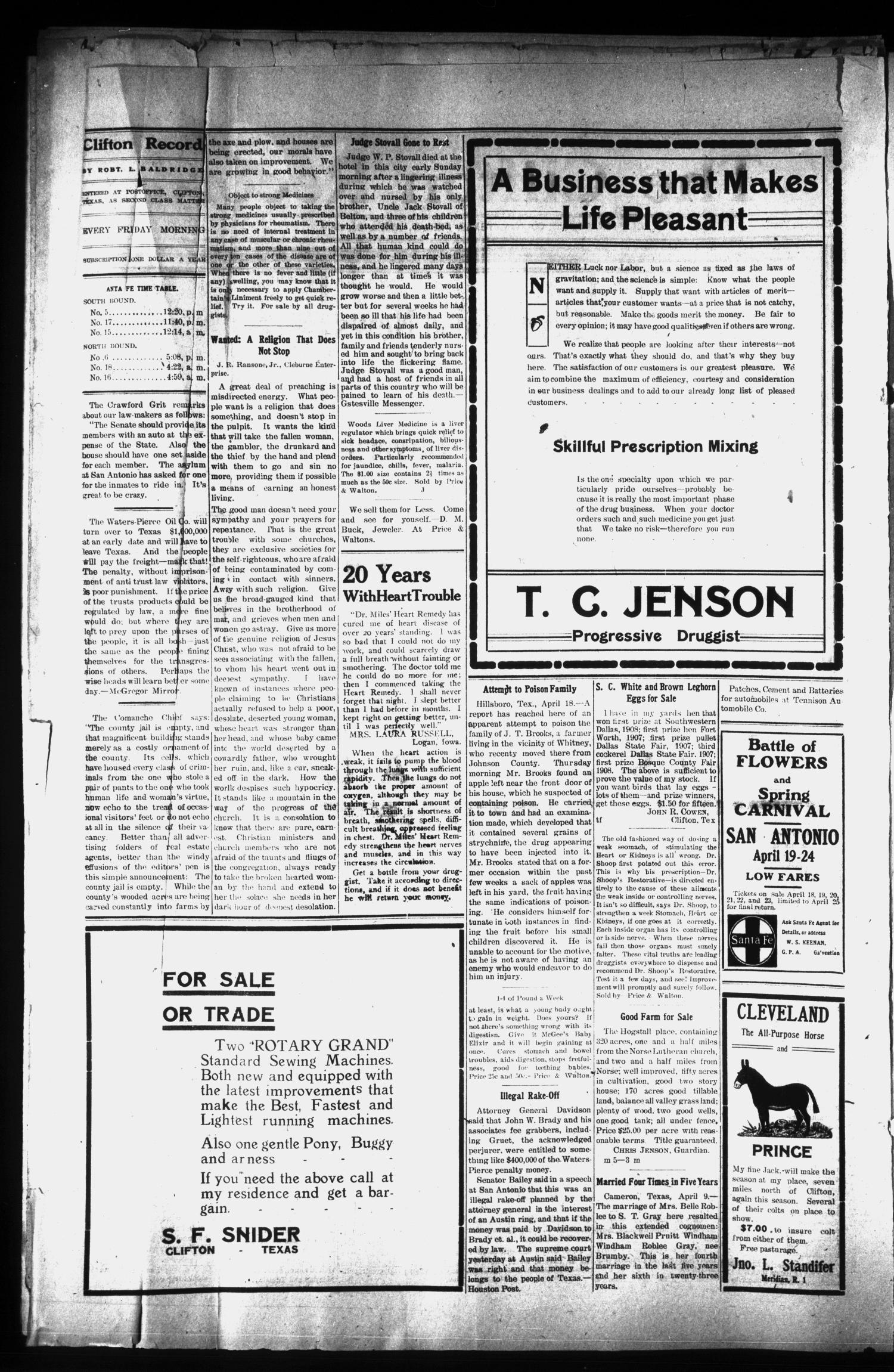 The Clifton Record (Clifton, Tex.), Vol. 15, No. 4, Ed. 1 Friday, April 23, 1909                                                                                                      [Sequence #]: 2 of 8