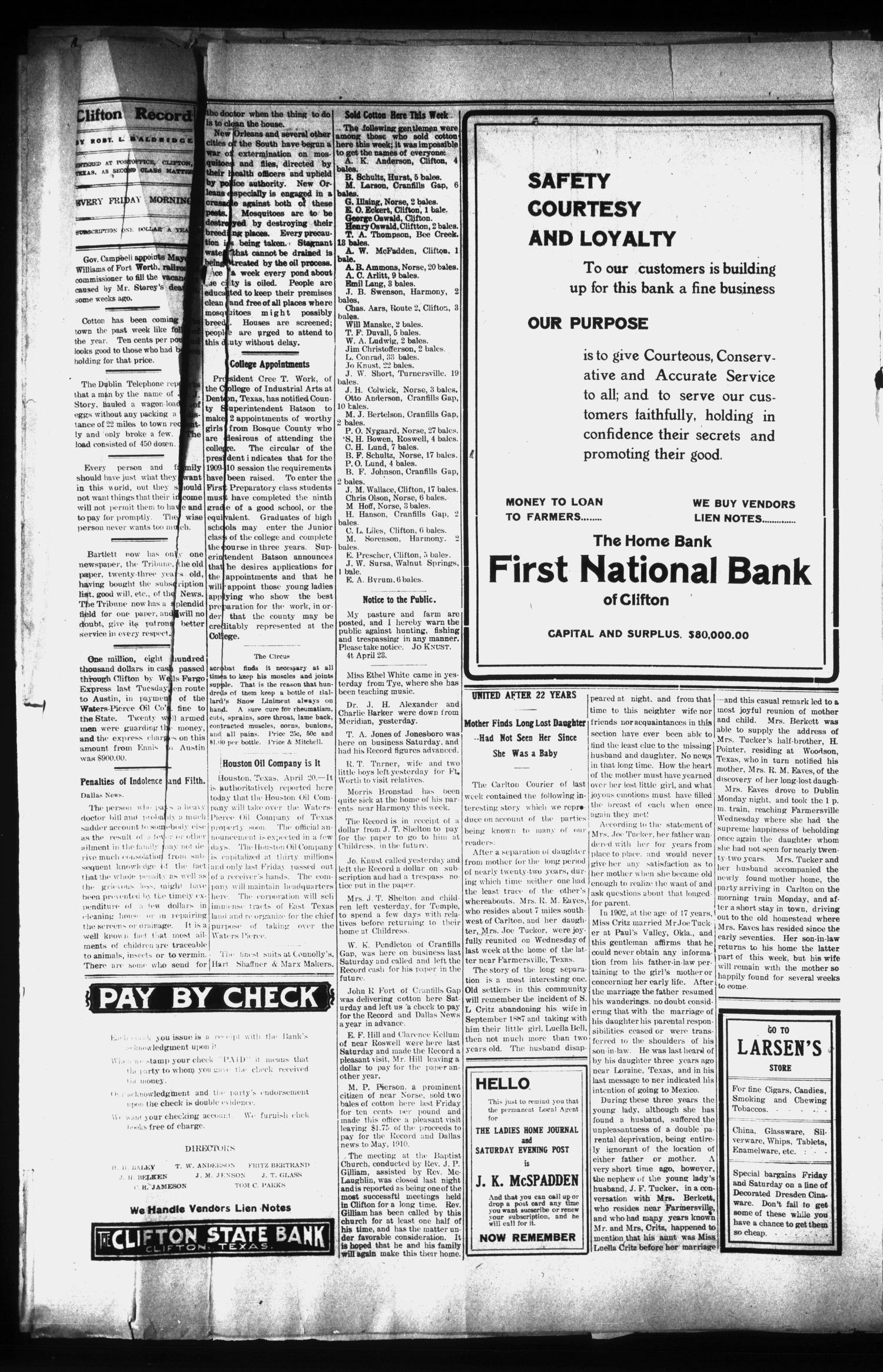 The Clifton Record (Clifton, Tex.), Vol. 15, No. 4, Ed. 1 Friday, April 23, 1909                                                                                                      [Sequence #]: 4 of 8