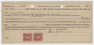 Primary view of object titled '[Promissory Note from W. H. Bonnell to Charles Schreiner Bank, September 10, 1921]'.