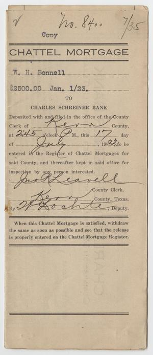 [Copy of a Chattel Mortgage Agreement Between W. H. Bonnell and Charles Schreiner Bank]