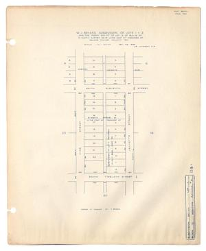 Primary view of object titled 'W. J. Bryan's Subdivision of Lots 1 & 2 and the North 200 feet of Lot 3 of Block 19 of Benjamin Austin Survey Number 91, Lying East of Meander Street, Abilene, Taylor County, Texas'.