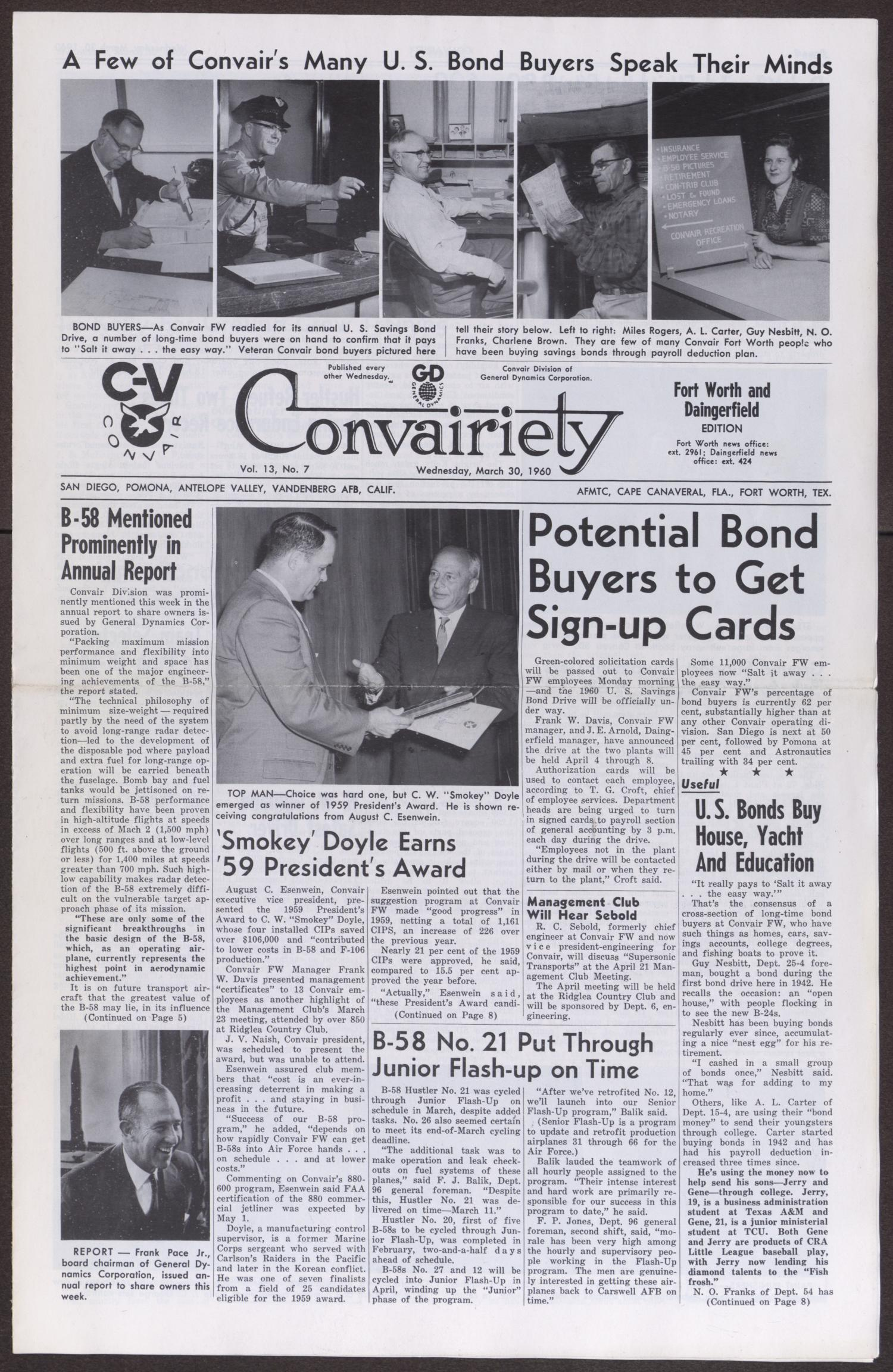 Convairiety, Volume 13, Number 7, Wednesday, March 30, 1960                                                                                                      [Sequence #]: 1 of 8