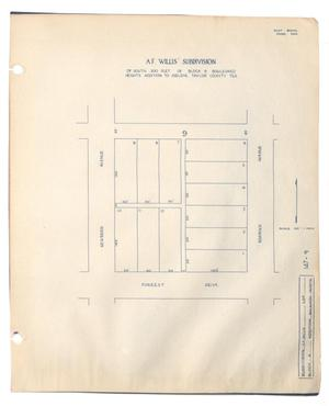 Primary view of object titled 'A. F. Willis' Subdivision of South 300 Feet of Block 9, Boulevard Heights Addition of Abilene, Taylor County, Texas'.