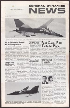 Primary view of object titled 'General Dynamics News, Volume 22, Number 16, Wednesday, August 20, 1969'.