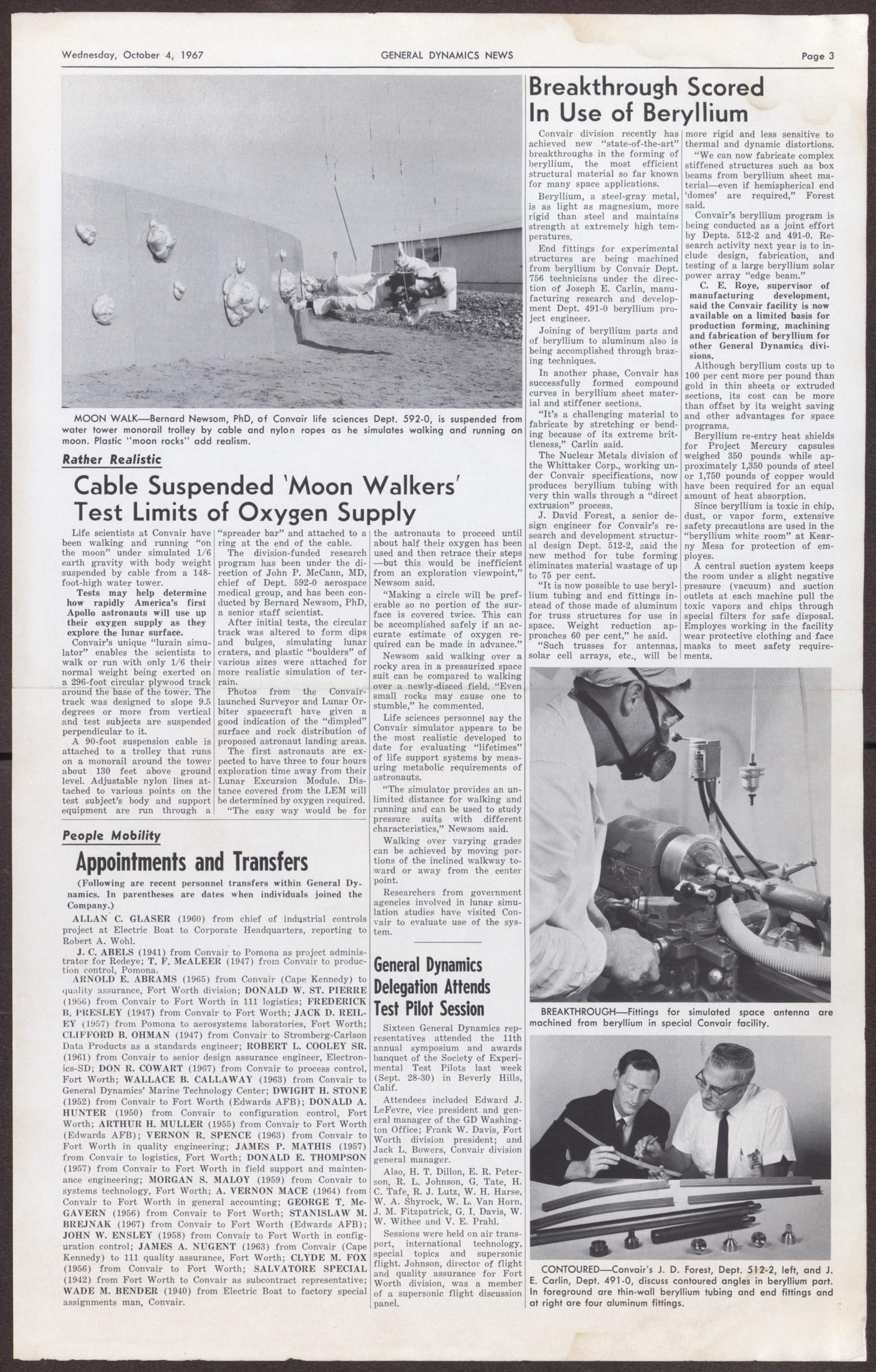 General Dynamics News, Volume 20, Number 20, Wednesday, October 4, 1967                                                                                                      [Sequence #]: 1 of 2