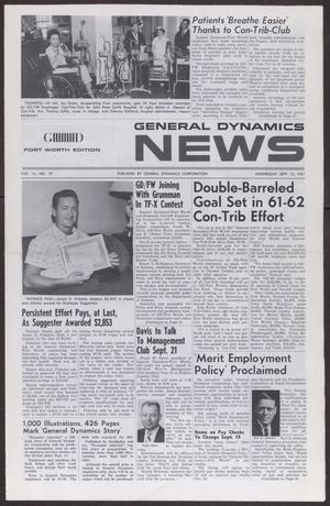 Primary view of object titled 'General Dynamics News, Volume 14, Number 19, Wednesday, September 13, 1961'.