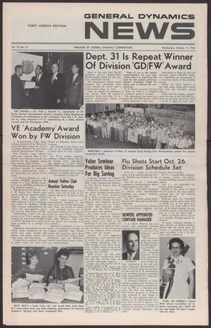 Primary view of object titled 'General Dynamics News, Volume 18, Number 21, Wednesday, October 13, 1965'.