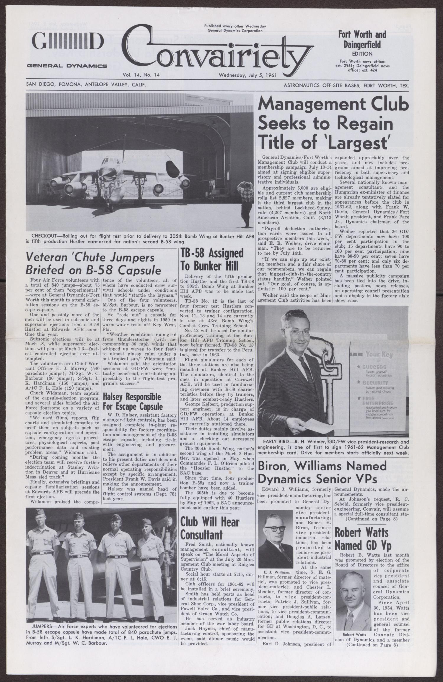 Convairiety, Volume 14, Number 14, Wednesday, July 5, 1961