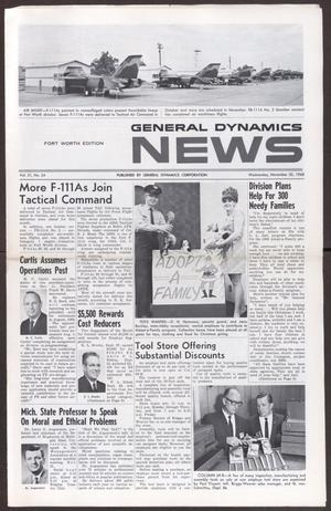 Primary view of object titled 'General Dynamics News, Volume 21, Number 24, Wednesday, November 20, 1968'.