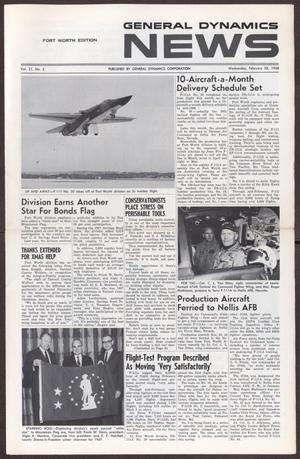 Primary view of object titled 'General Dynamics News, Volume 21, Number 5, Wednesday, February 28, 1968'.