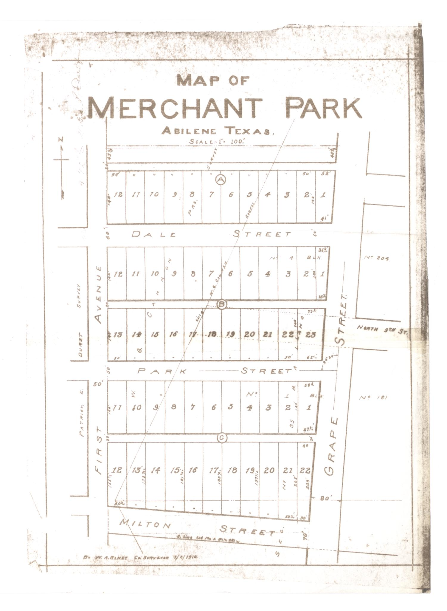 Map of Merchant Park, Abilene, Texas. [#2]                                                                                                      [Sequence #]: 1 of 2