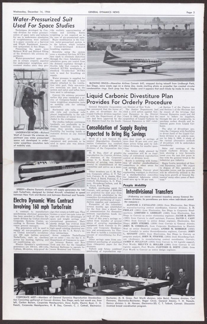 General Dynamics News, Wednesday, December 14, 1966 - The Portal to